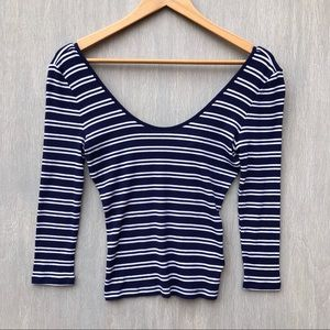 NWT Express ribbed scoop neck cropped top S blue